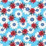 Antislipmat lieveheersbeestjes blauw