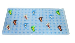 Antislip badmat aqua voetjes 77x36 cm