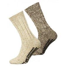 Antislip sokken Noorse wol bruin