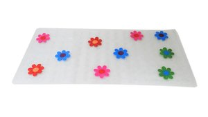 Antislip badmat transparant bloemen 77x36 cm