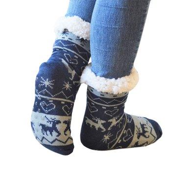 Antislip sokken huissokken blauw-grijs