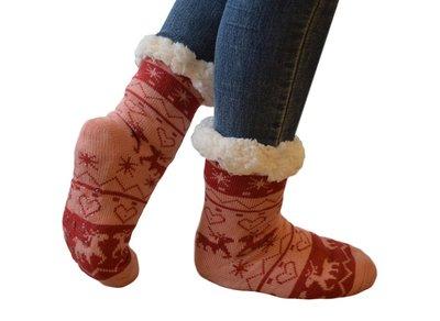 Antislip sokken huissokken roze-rood