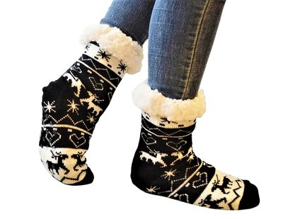 Antislip sokken huissokken zwart-wit