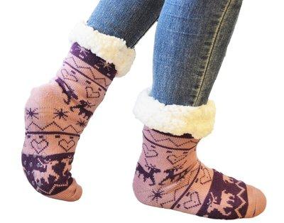 Antislip sokken huissokken lila-paars