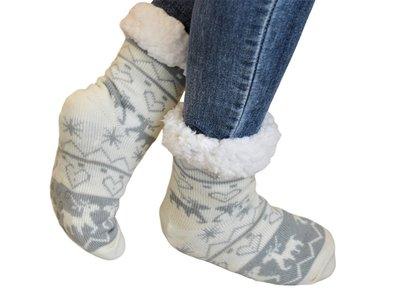 Antislip sokken huissokken wit-grijs
