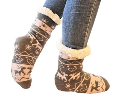 Antislip sokken huissokken grijs-roze